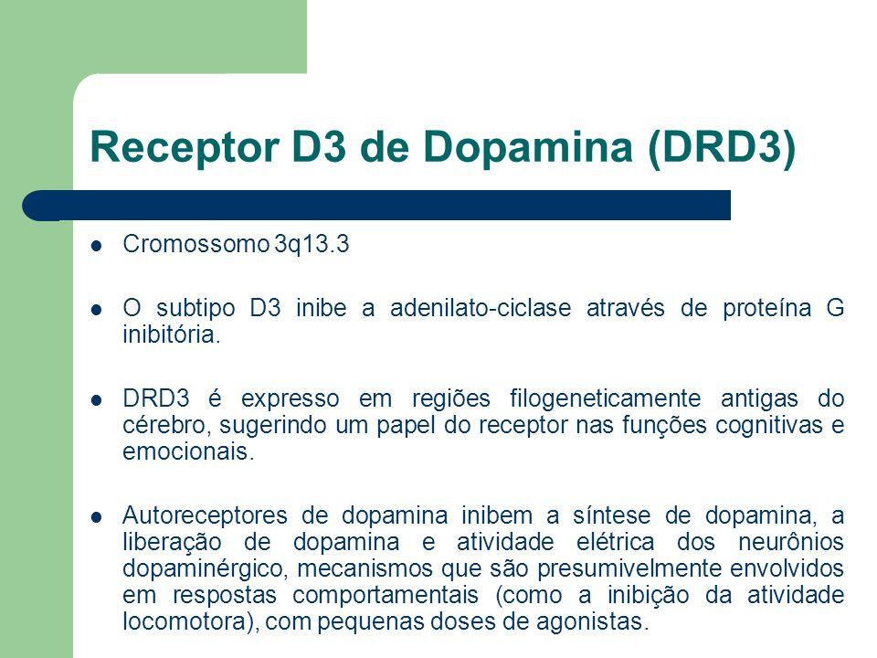 Receptor D3 de Dopamina (DRD3) Cromossomo 3q13.3 O subtipo D3 inibe a adenilato-ciclase através de proteína G inibitória. DRD3 é expresso em regiões f