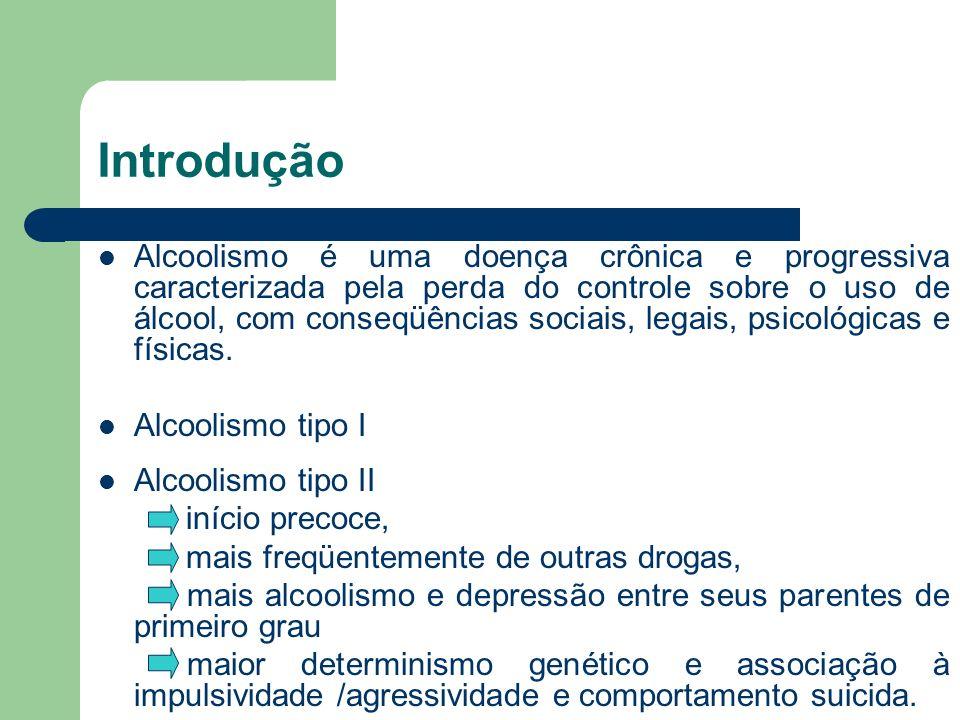 Introdução Alcoolismo é uma doença crônica e progressiva caracterizada pela perda do controle sobre o uso de álcool, com conseqüências sociais, legais