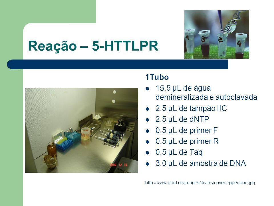Reação – 5-HTTLPR 1Tubo 15,5 μL de água demineralizada e autoclavada 2,5 μL de tampão IIC 2,5 μL de dNTP 0,5 μL de primer F 0,5 μL de primer R 0,5 μL