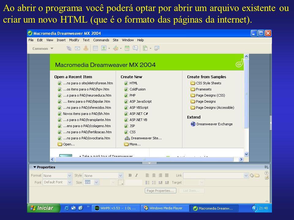 Ao abrir o programa você poderá optar por abrir um arquivo existente ou criar um novo HTML (que é o formato das páginas da internet).