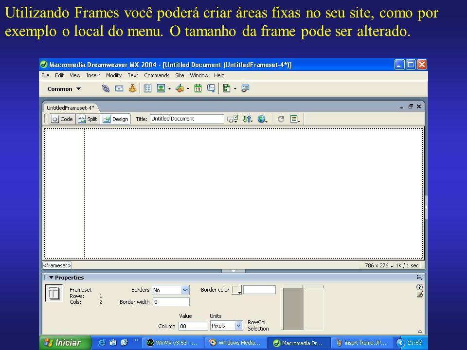 Utilizando Frames você poderá criar áreas fixas no seu site, como por exemplo o local do menu. O tamanho da frame pode ser alterado.