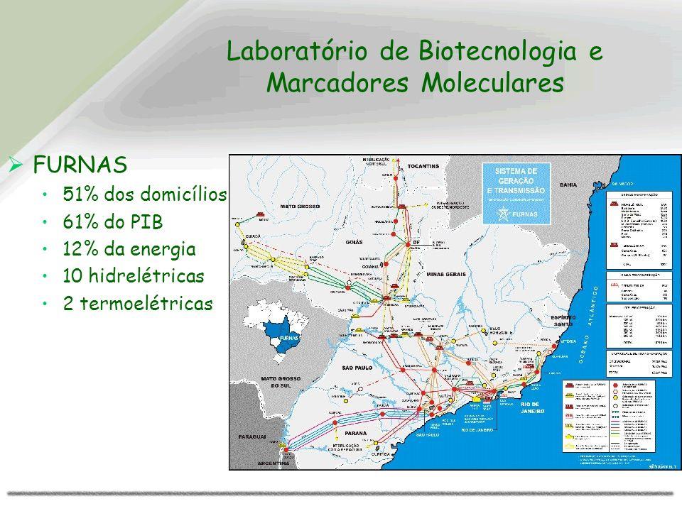 Laboratório de Biotecnologia e Marcadores Moleculares FURNAS 51% dos domicílios 61% do PIB 12% da energia 10 hidrelétricas 2 termoelétricas