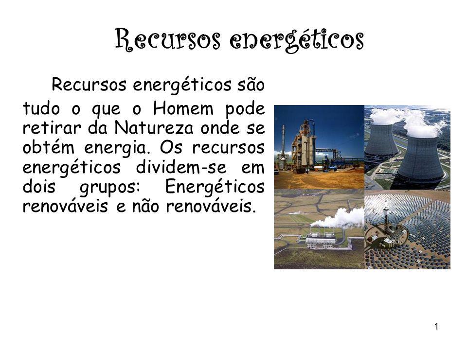 1 Recursos energéticos Recursos energéticos são tudo o que o Homem pode retirar da Natureza onde se obtém energia.