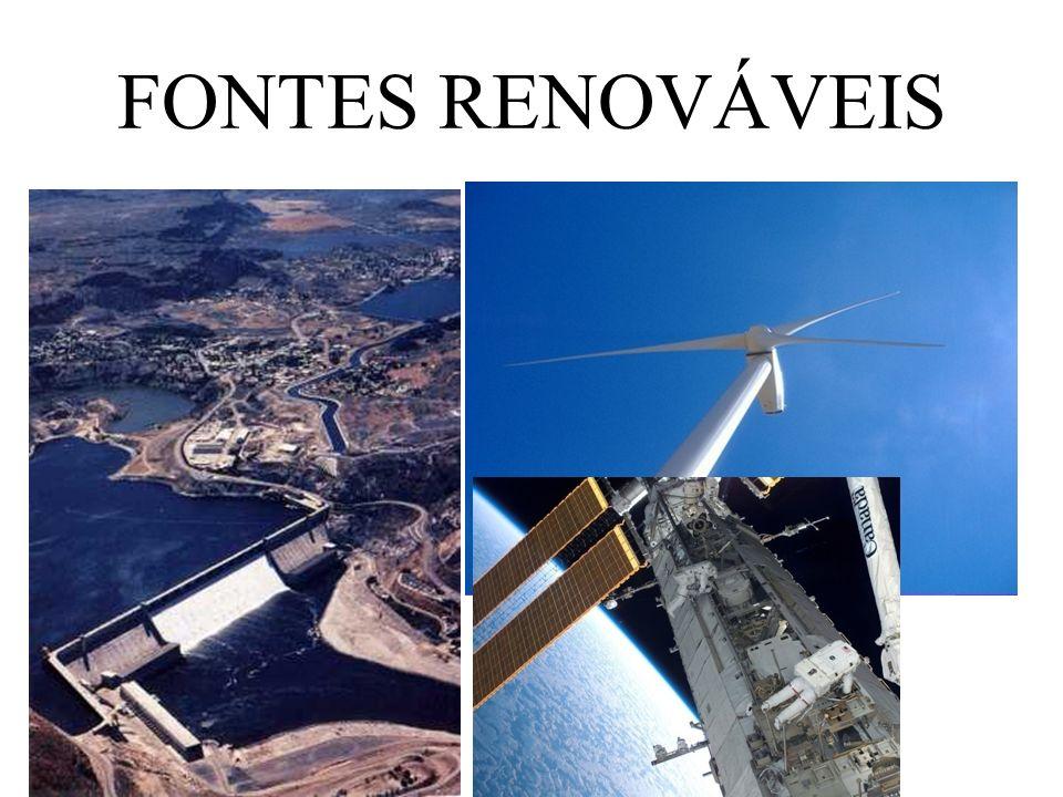 Fontes de energia renováveis São fontes de energia Alternativas; Chamada de energia limpa, pois não emite poluentes quimicos na atmosfera; São perenes