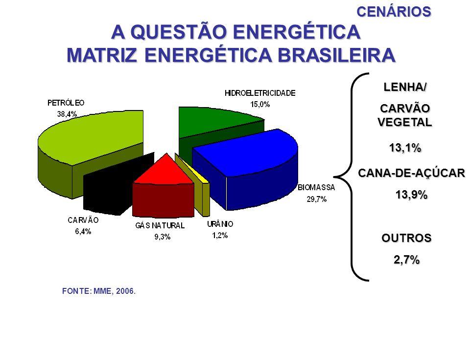 FONTE: MME, 2006.CENÁRIOS A QUESTÃO ENERGÉTICA MATRIZ ENERGÉTICA BRASILEIRA LENHA/ CARVÃO VEGETAL 13,1% CANA-DE-AÇÚCAR13,9% OUTROS2,7%
