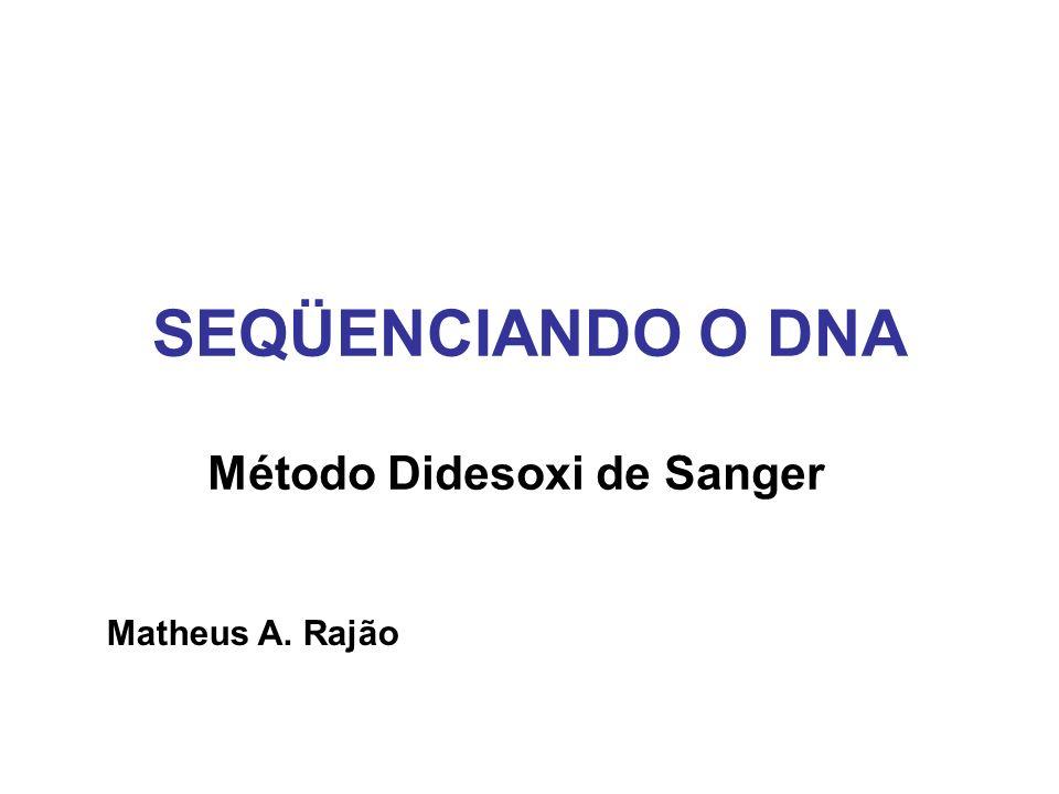 Desenvolvido em 1975, por Frederick Sanger O DNA é seqüenciado através da produção de fragmentos pela interrupção controlada da replicação enzimática É o método mais usado devido a sua simplicidade Devido a sua extensa aplicabilidade, rendeu a seu criador o Prêmio Nobel de Química de 1980