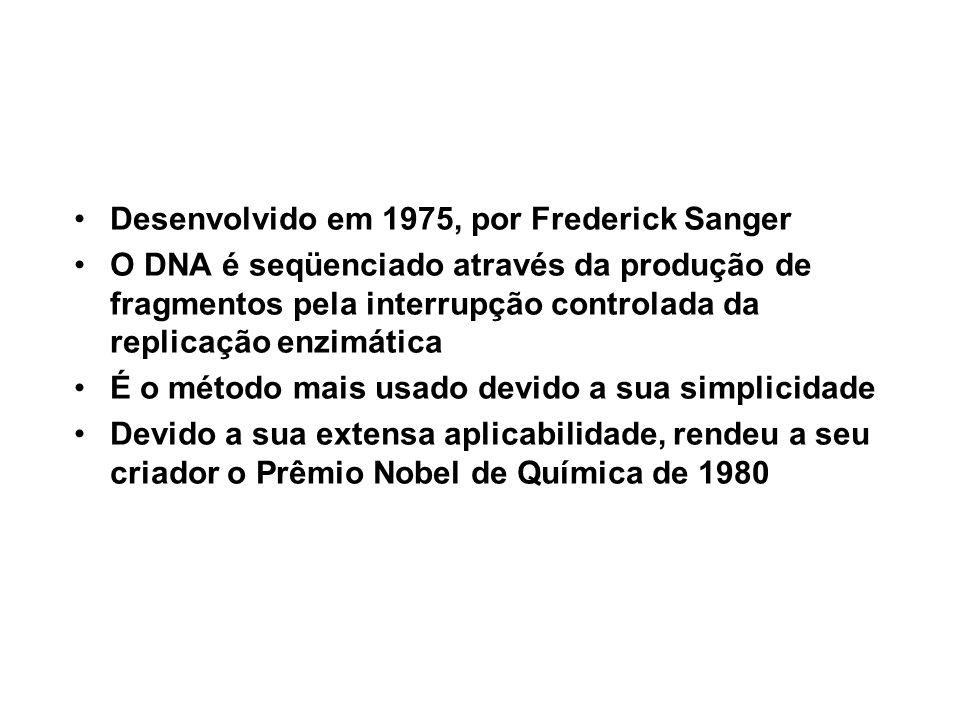 Desenvolvido em 1975, por Frederick Sanger O DNA é seqüenciado através da produção de fragmentos pela interrupção controlada da replicação enzimática
