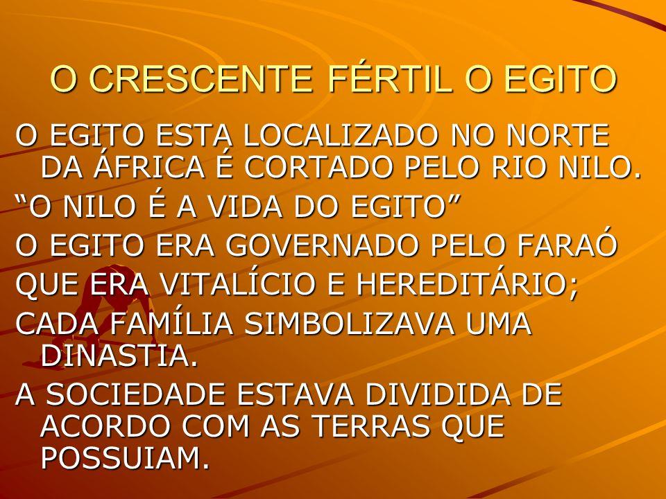 O CRESCENTE FÉRTIL O EGITO O EGITO ESTA LOCALIZADO NO NORTE DA ÁFRICA É CORTADO PELO RIO NILO.