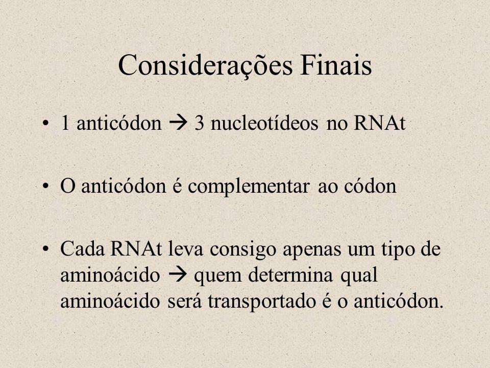 1 anticódon 3 nucleotídeos no RNAt O anticódon é complementar ao códon Cada RNAt leva consigo apenas um tipo de aminoácido quem determina qual aminoác
