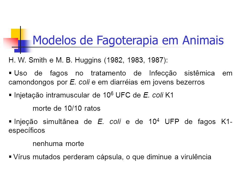Modelos de Fagoterapia em Animais H. W. Smith e M. B. Huggins (1982, 1983, 1987): Uso de fagos no tratamento de Infecção sistêmica em camondongos por