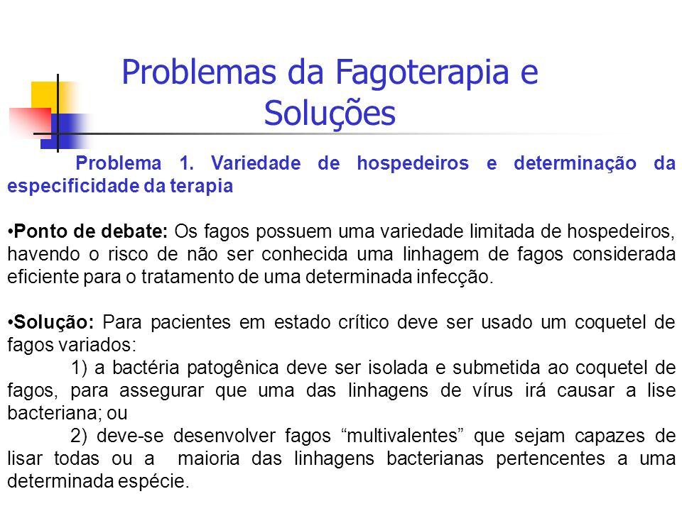 Problemas da Fagoterapia e Soluções Problema 1. Variedade de hospedeiros e determinação da especificidade da terapia Ponto de debate: Os fagos possuem