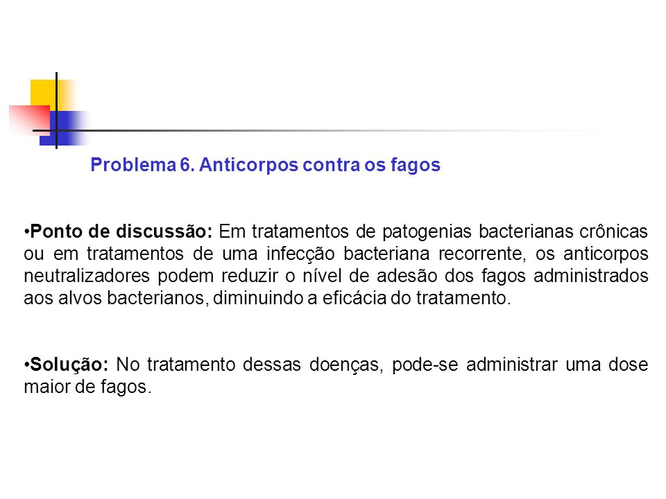 Problema 6. Anticorpos contra os fagos Ponto de discussão: Em tratamentos de patogenias bacterianas crônicas ou em tratamentos de uma infecção bacteri