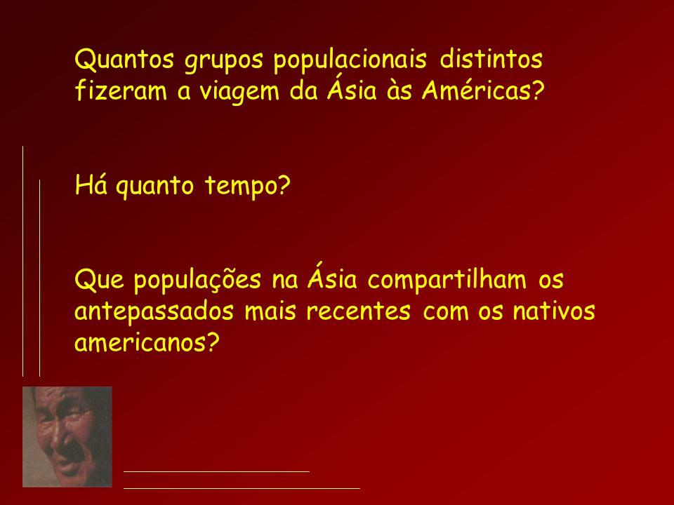 Quantos grupos populacionais distintos fizeram a viagem da Ásia às Américas? Há quanto tempo? Que populações na Ásia compartilham os antepassados mais