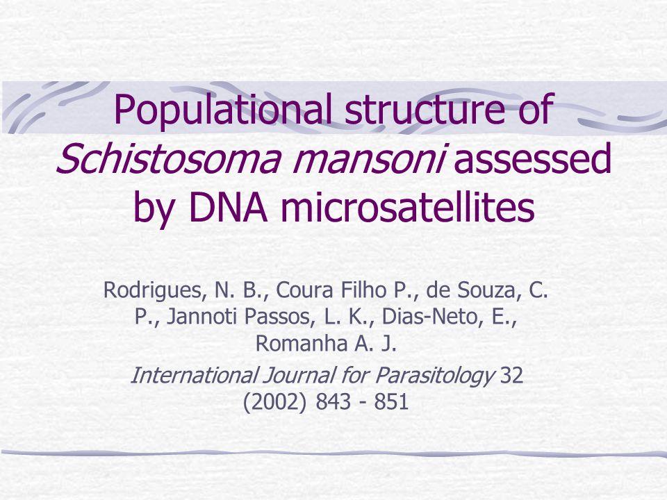 Populational structure of Schistosoma mansoni assessed by DNA microsatellites Rodrigues, N. B., Coura Filho P., de Souza, C. P., Jannoti Passos, L. K.
