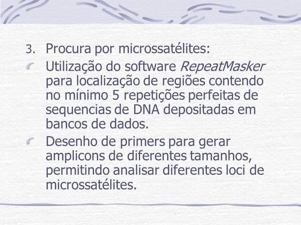 3. Procura por microssatélites: Utilização do software RepeatMasker para localização de regiões contendo no mínimo 5 repetições perfeitas de sequencia