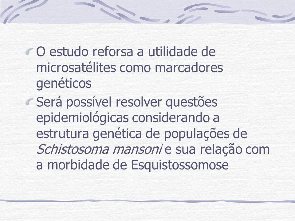 O estudo reforsa a utilidade de microsatélites como marcadores genéticos Será possível resolver questões epidemiológicas considerando a estrutura genética de populações de Schistosoma mansoni e sua relação com a morbidade de Esquistossomose