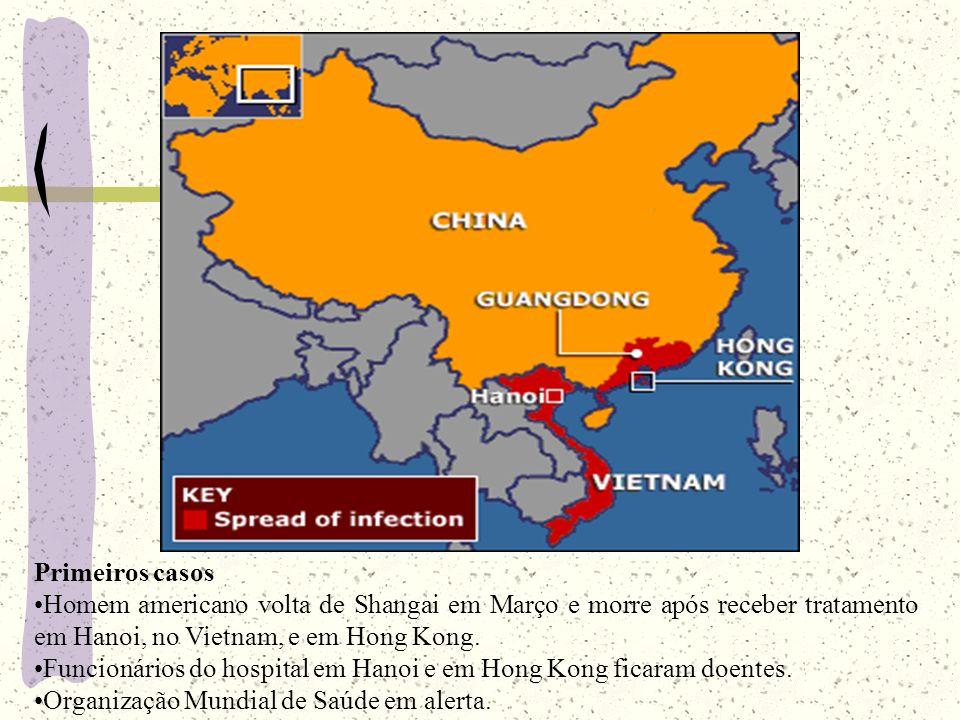 O espalhamento da doença Em Hong Kong, 19 de março, 123 pessoas infectadas.