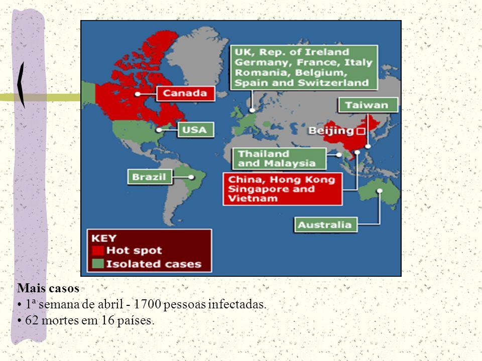 Mais países afetados 2ª semana de abril - 2.700 pessoas infectadas em 20 países.