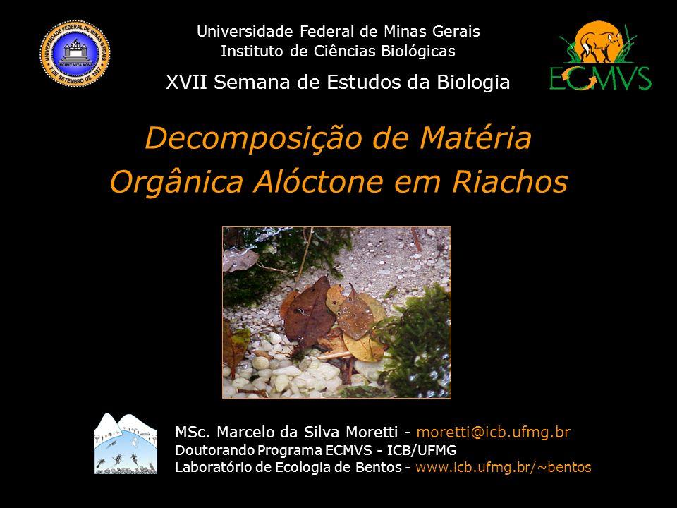 Decomposição de Matéria Orgânica Alóctone em Riachos História dos Estudos de Decomposição em Ambientes Lóticos Stuart G.