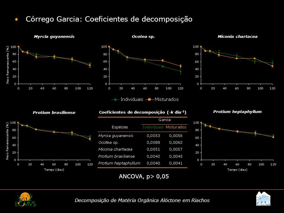 Decomposição de Matéria Orgânica Alóctone em Riachos Córrego Garcia: Coeficientes de decomposição Coeficientes de decomposição (-k dia -1 ) ANCOVA, p>