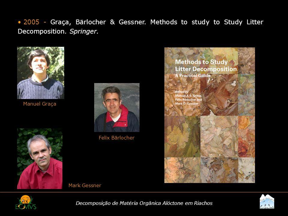 Decomposição de Matéria Orgânica Alóctone em Riachos 2005 - Graça, Bärlocher & Gessner. Methods to study to Study Litter Decomposition. Springer. Manu