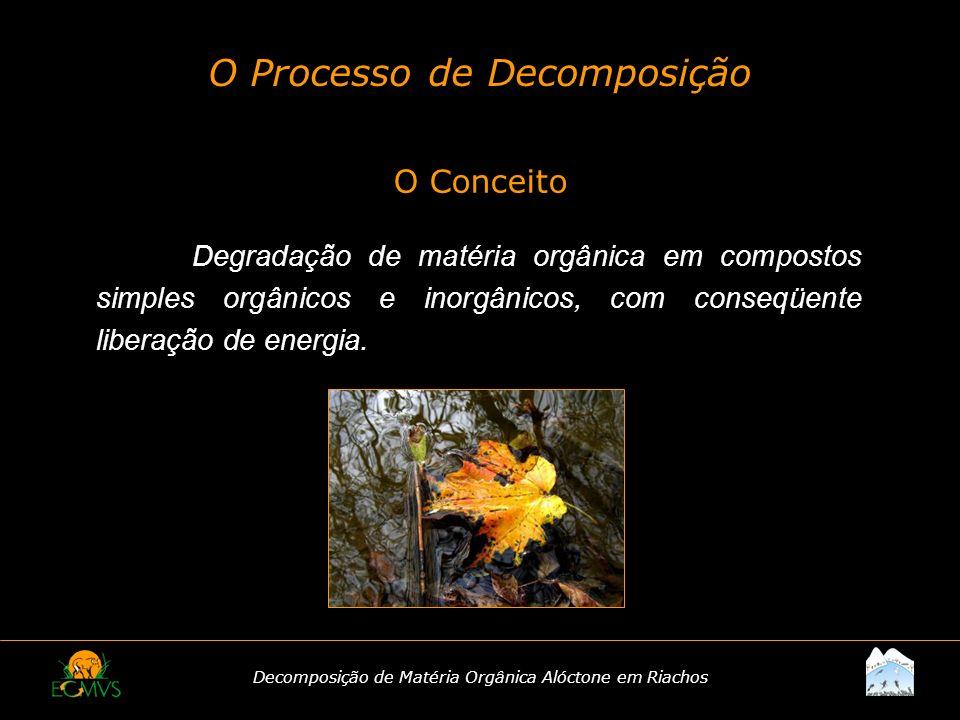 Decomposição de Matéria Orgânica Alóctone em Riachos O Processo de Decomposição O Conceito Degradação de matéria orgânica em compostos simples orgânic