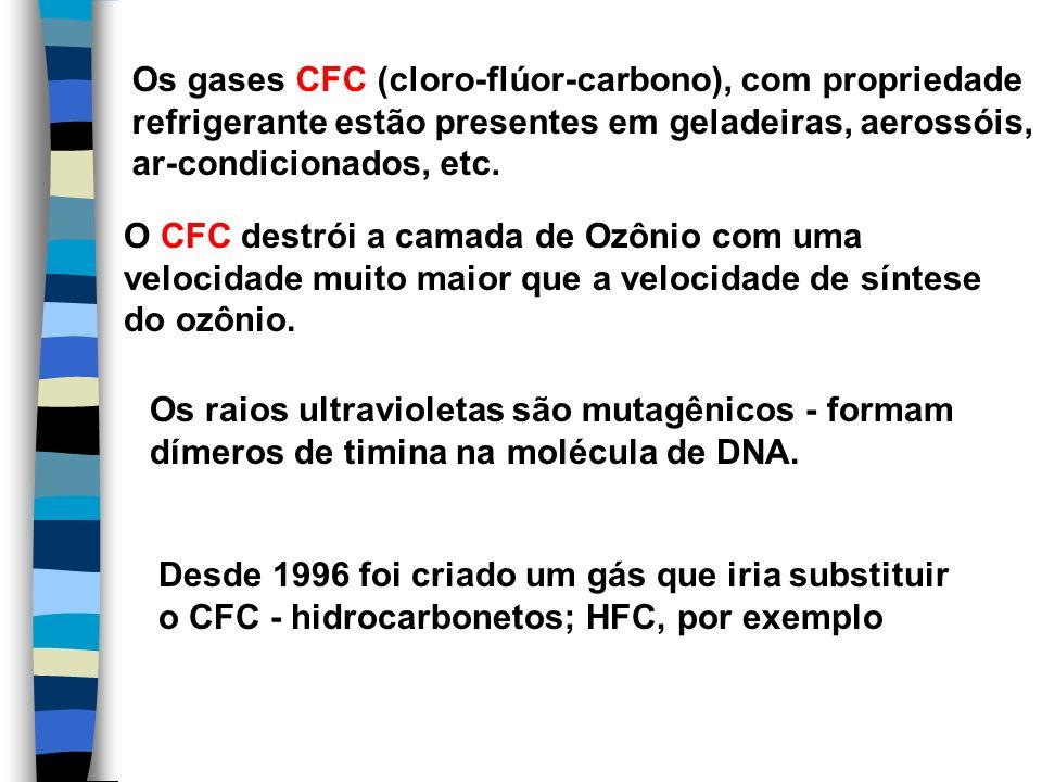 Os gases CFC (cloro-flúor-carbono), com propriedade refrigerante estão presentes em geladeiras, aerossóis, ar-condicionados, etc. O CFC destrói a cama
