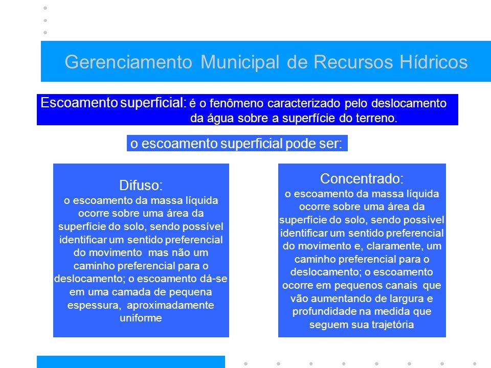 Gerenciamento Municipal de Recursos Hídricos Escoamento superficial: é o fenômeno caracterizado pelo deslocamento da água sobre a superfície do terreno.