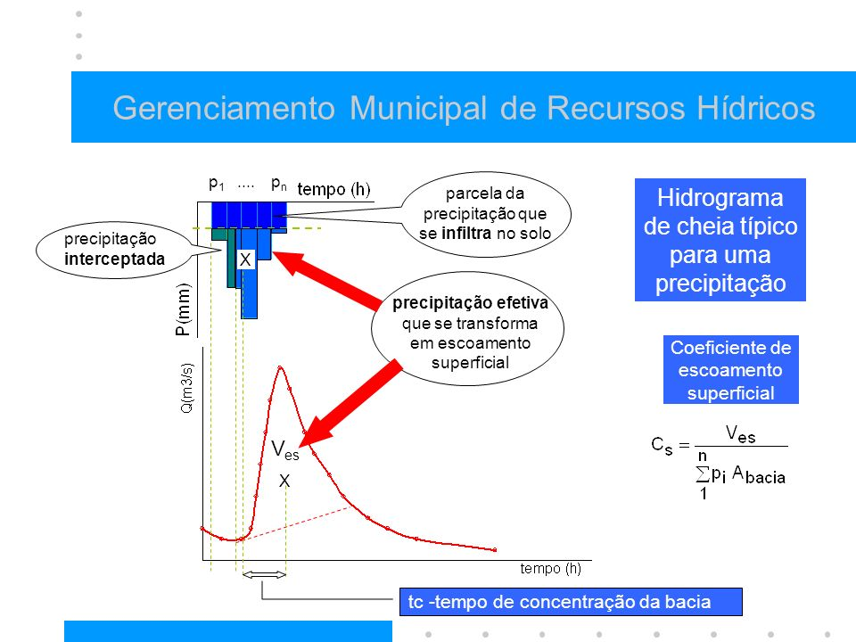 Gerenciamento Municipal de Recursos Hídricos Hidrograma de cheia típico para uma precipitação precipitação efetiva que se transforma em escoamento superficial parcela da precipitação que se infiltra no solo precipitação interceptada X X V es p1p1 pnpn....