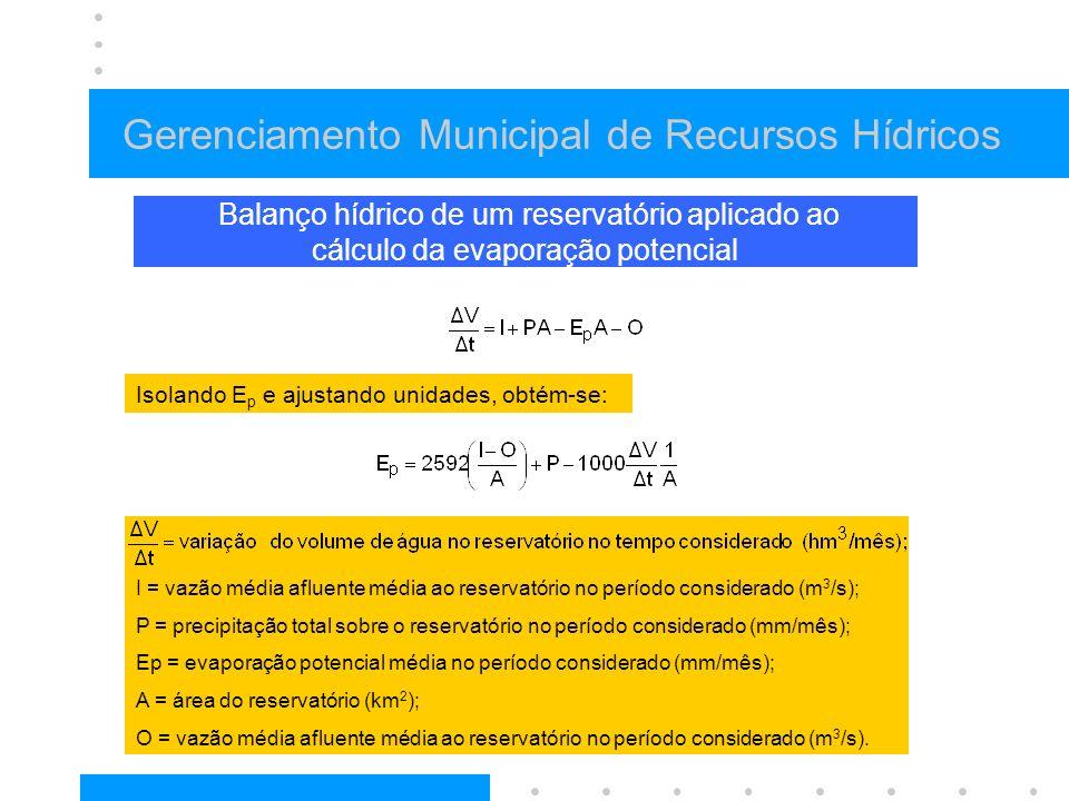 Gerenciamento Municipal de Recursos Hídricos Balanço hídrico de um reservatório aplicado ao cálculo da evaporação potencial I = vazão média afluente m