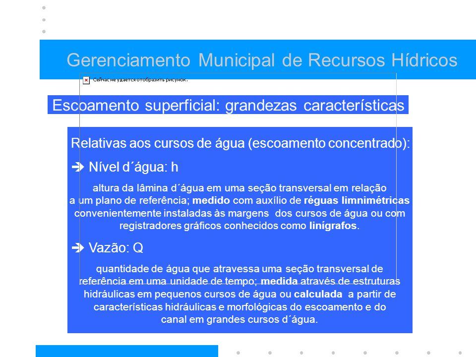Relativas aos cursos de água (escoamento concentrado): Nível d´água: h altura da lâmina d´água em uma seção transversal em relação a um plano de refer