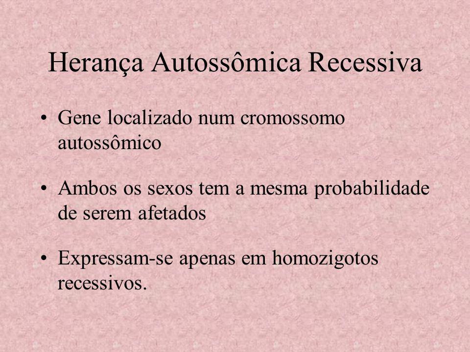 Herança Autossômica Recessiva Gene localizado num cromossomo autossômico Ambos os sexos tem a mesma probabilidade de serem afetados Expressam-se apena