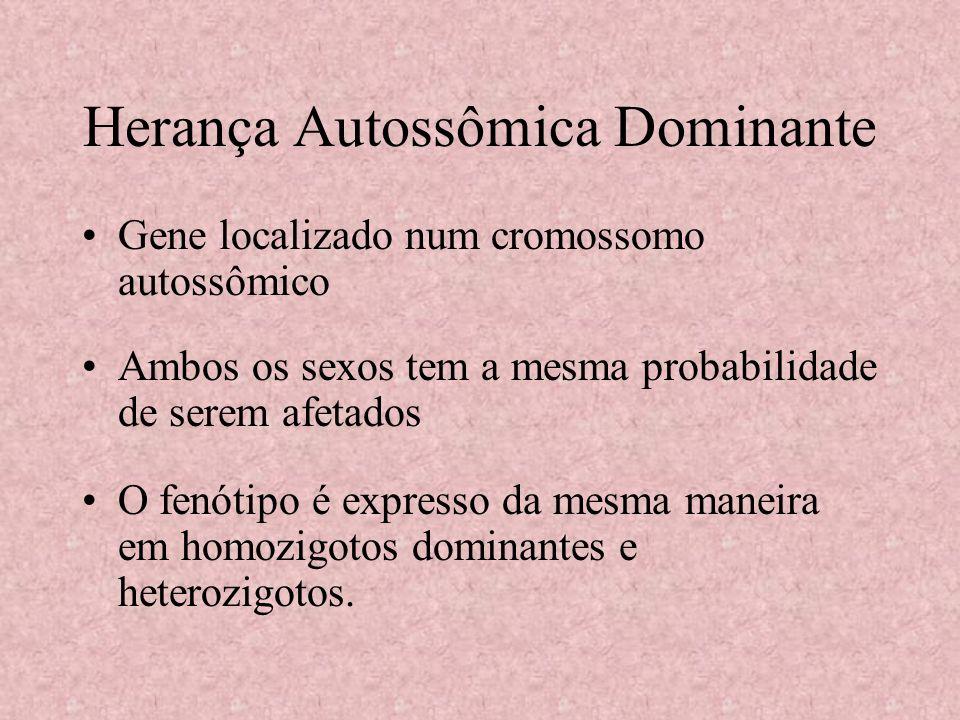 Herança Autossômica Dominante Gene localizado num cromossomo autossômico Ambos os sexos tem a mesma probabilidade de serem afetados O fenótipo é expre