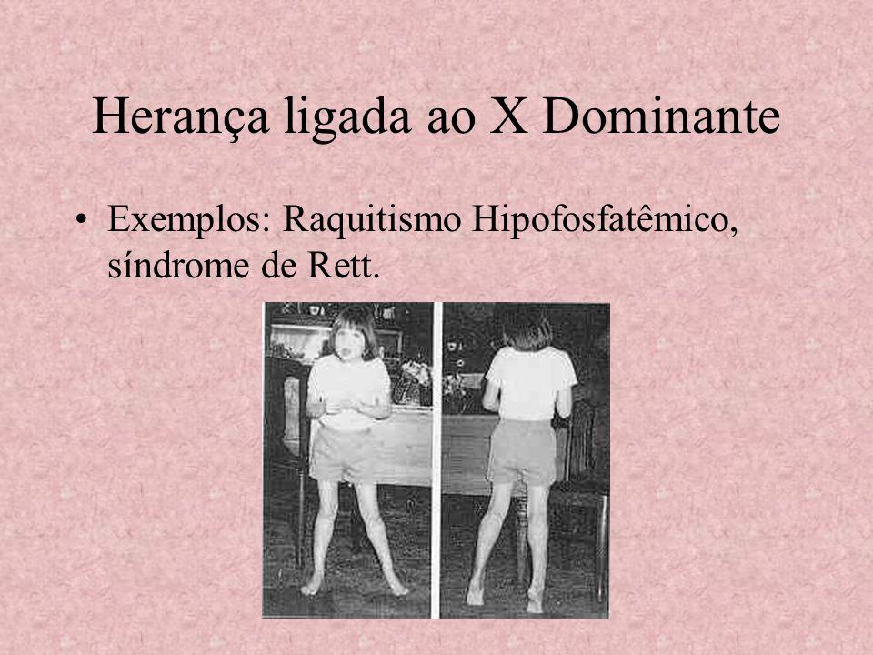 Herança ligada ao X Dominante Exemplos: Raquitismo Hipofosfatêmico, síndrome de Rett.