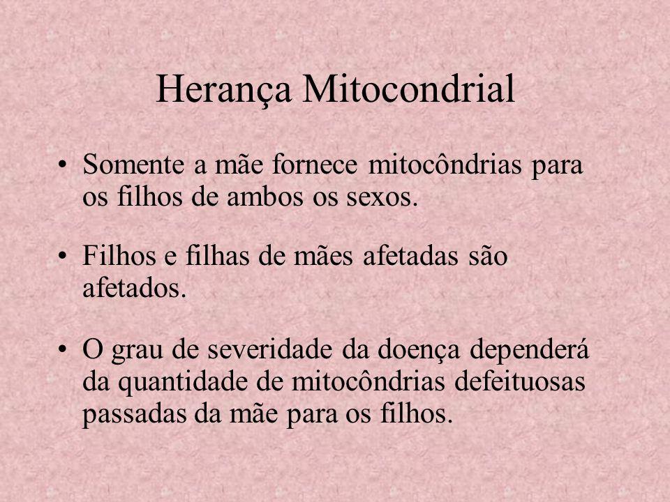 Herança Mitocondrial Somente a mãe fornece mitocôndrias para os filhos de ambos os sexos. Filhos e filhas de mães afetadas são afetados. O grau de sev