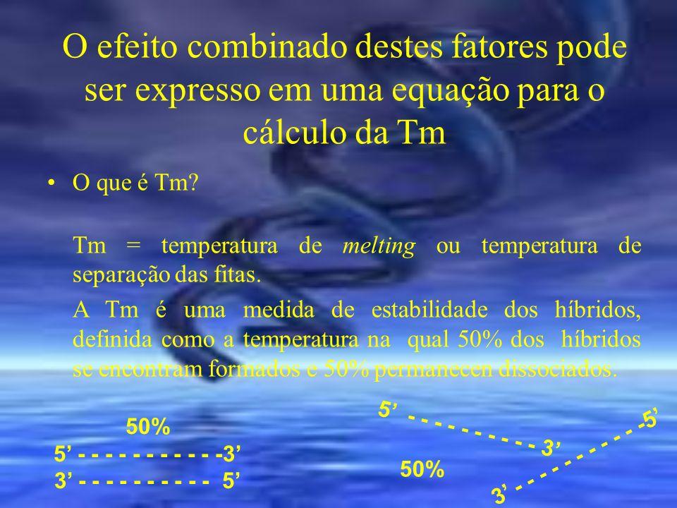 O efeito combinado destes fatores pode ser expresso em uma equação para o cálculo da Tm O que é Tm? Tm = temperatura de melting ou temperatura de sepa