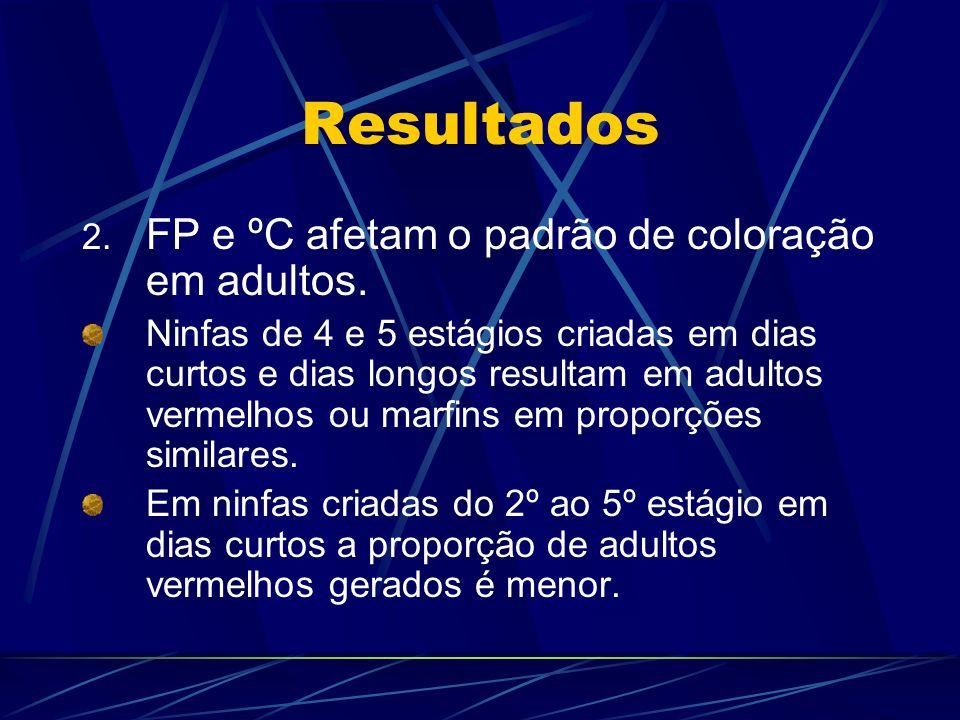 Resultados 2. FP e ºC afetam o padrão de coloração em adultos. Ninfas de 4 e 5 estágios criadas em dias curtos e dias longos resultam em adultos verme