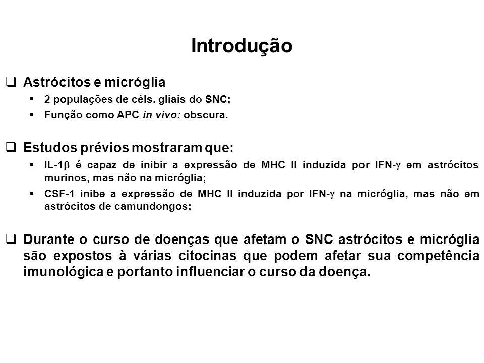 Introdução Astrócitos e micróglia 2 populações de céls. gliais do SNC; Função como APC in vivo: obscura. Estudos prévios mostraram que: IL-1 é capaz d