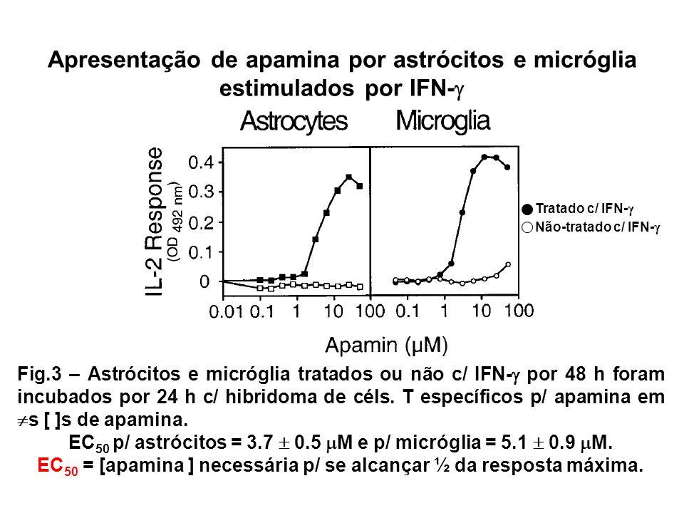 Apresentação de apamina por astrócitos e micróglia estimulados por IFN- Fig.3 – Astrócitos e micróglia tratados ou não c/ IFN- por 48 h foram incubados por 24 h c/ hibridoma de céls.