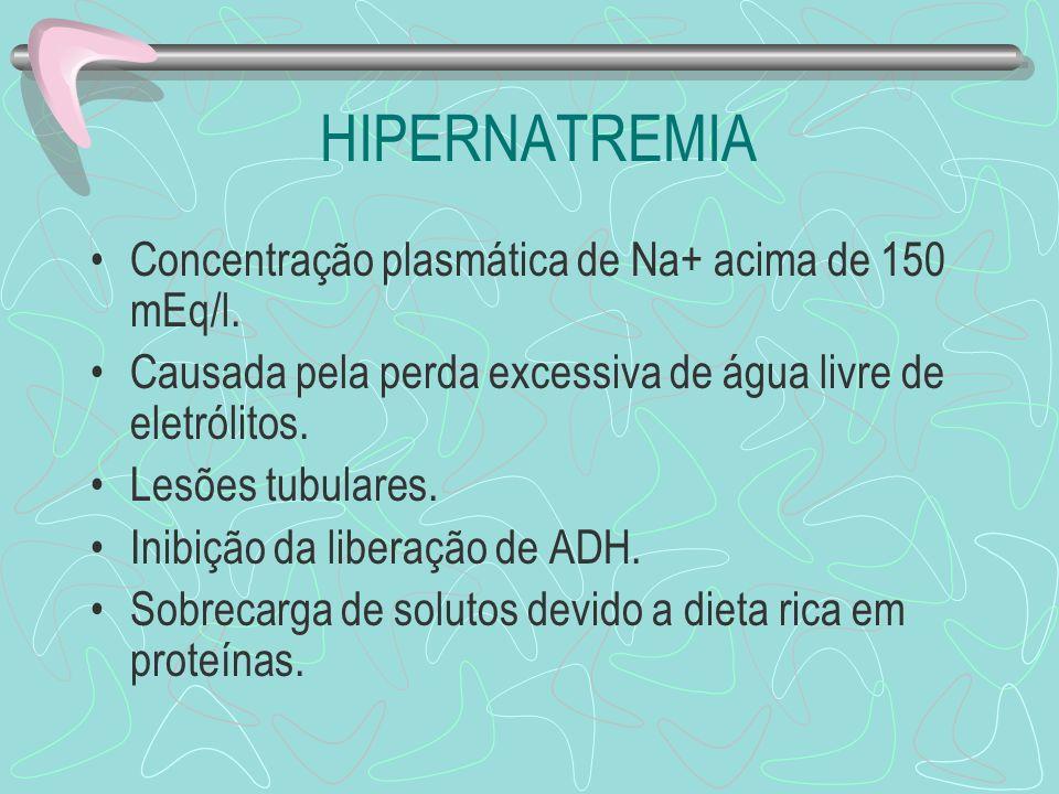 HIPERNATREMIA Concentração plasmática de Na+ acima de 150 mEq/l. Causada pela perda excessiva de água livre de eletrólitos. Lesões tubulares. Inibição