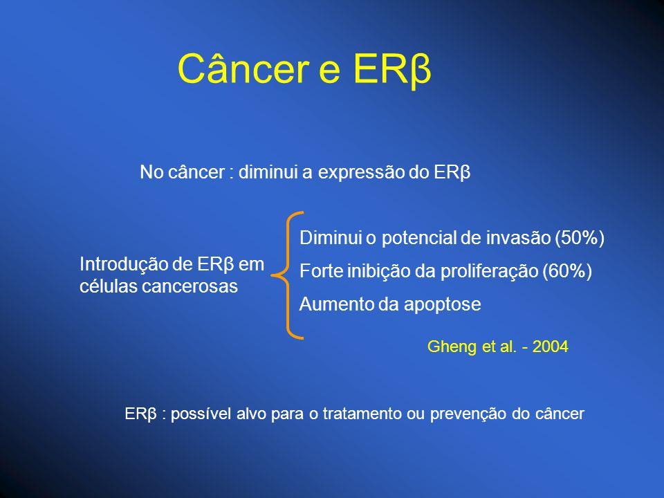 Câncer e ERβ No câncer : diminui a expressão do ERβ Introdução de ERβ em células cancerosas Diminui o potencial de invasão (50%) Forte inibição da pro