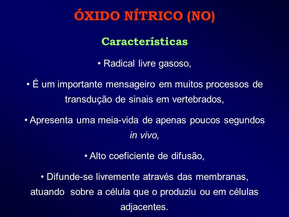 ÓXIDO NÍTRICO (NO) Características Radical livre gasoso, É um importante mensageiro em muitos processos de transdução de sinais em vertebrados, Aprese