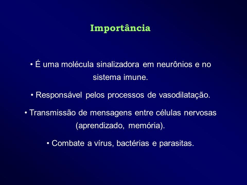 Importância É uma molécula sinalizadora em neurônios e no sistema imune. Responsável pelos processos de vasodilatação. Transmissão de mensagens entre