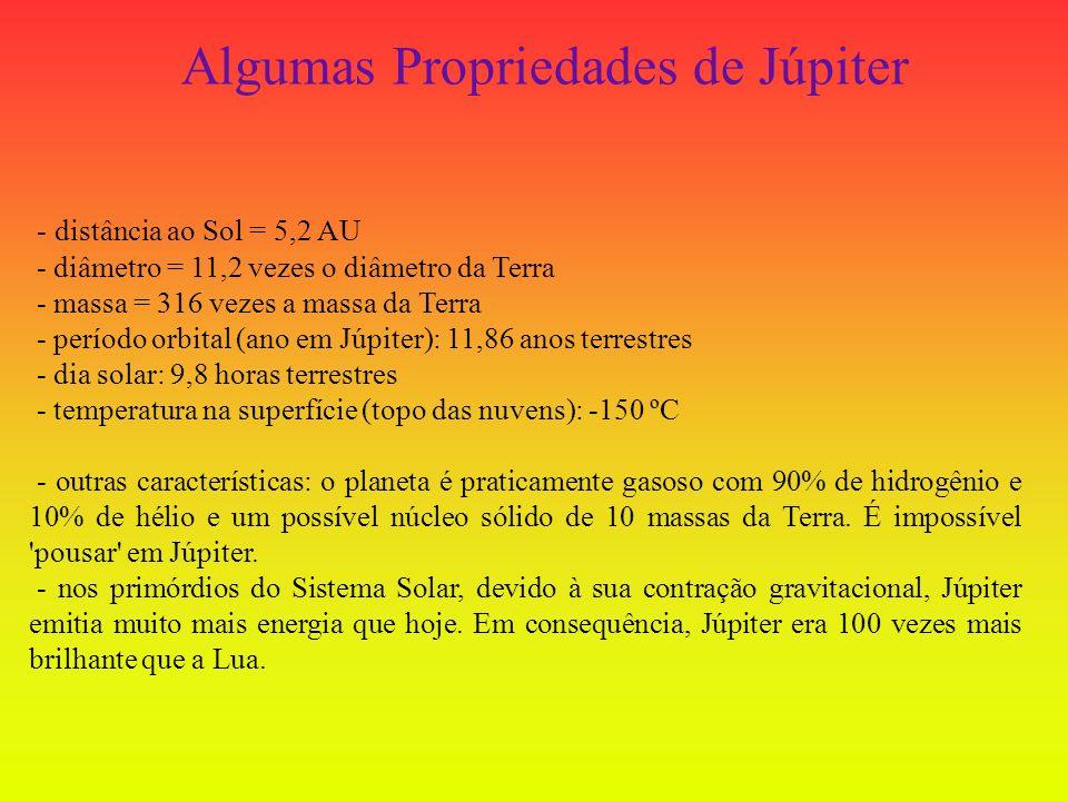 - distância ao Sol = 5,2 AU - diâmetro = 11,2 vezes o diâmetro da Terra - massa = 316 vezes a massa da Terra - período orbital (ano em Júpiter): 11,86