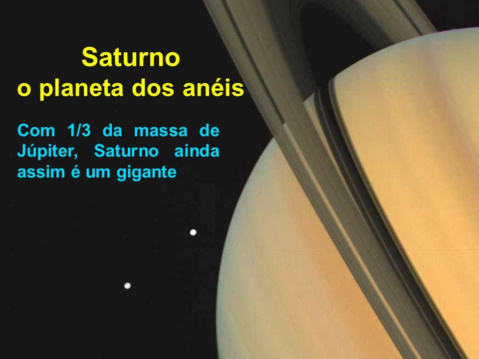 Saturno o planeta dos anéis Com 1/3 da massa de Júpiter, Saturno ainda assim é um gigante
