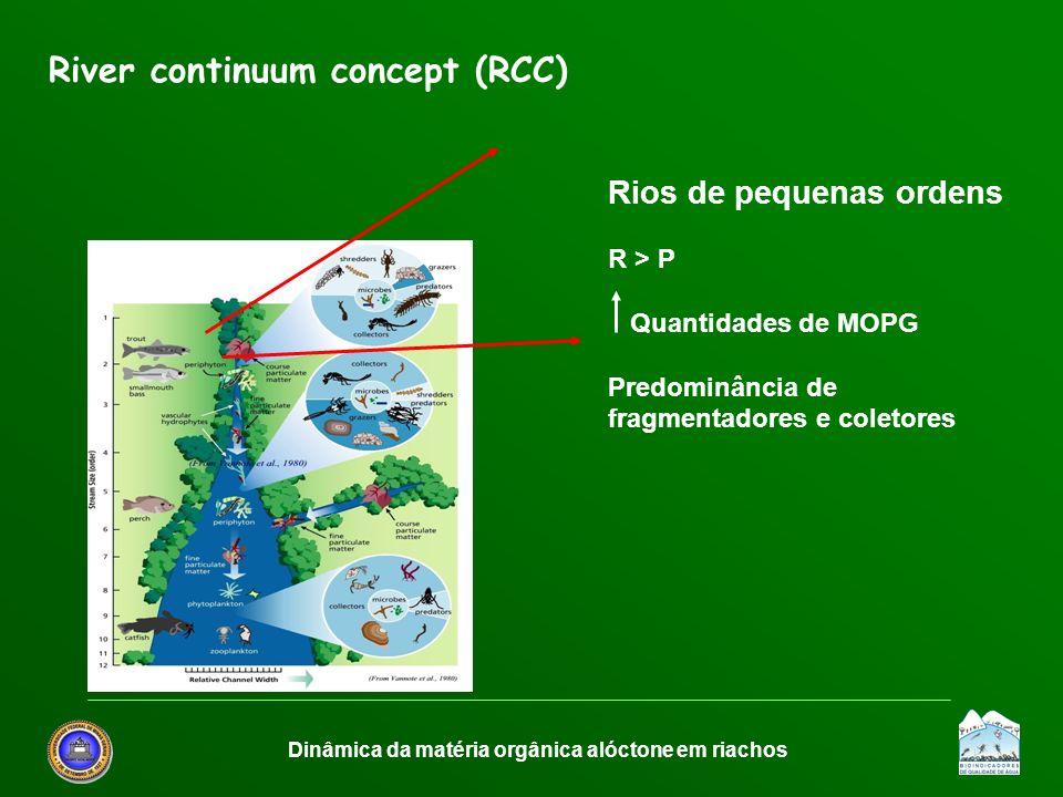 Dinâmica da matéria orgânica alóctone em riachos River continuum concept (RCC) Rios de pequenas ordens R > P Quantidades de MOPG Predominância de frag