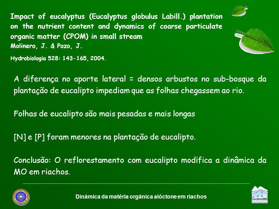 Dinâmica da matéria orgânica alóctone em riachos A diferença no aporte lateral = densos arbustos no sub-bosque da plantação de eucalipto impediam que