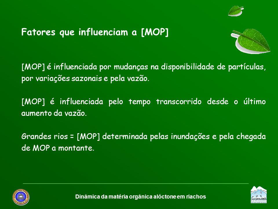 Dinâmica da matéria orgânica alóctone em riachos Fatores que influenciam a [MOP] [MOP] é influenciada por mudanças na disponibilidade de partículas, p