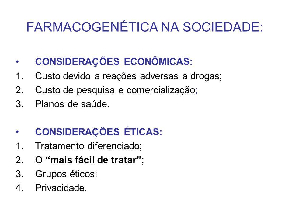 FARMACOGENÉTICA NA SOCIEDADE: CONSIDERAÇÕES ECONÔMICAS: 1.Custo devido a reações adversas a drogas; 2.Custo de pesquisa e comercialização; 3.Planos de
