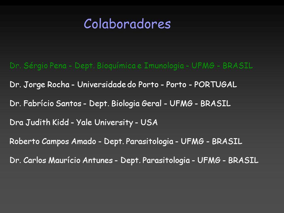Colaboradores Dr. Sérgio Pena - Dept. Bioquímica e Imunologia - UFMG - BRASIL Dr. Jorge Rocha - Universidade do Porto - Porto - PORTUGAL Dr. Fabrício